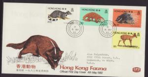 Hong Kong 384-387 Animals Typed FDC