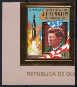 Equatorial Guinea 1973 Mi#306B  John F.Kennedy/Space Set (1) IMPERF Gold (1) MNH