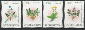 Uzbekistan 2011 Flowers 4 MNH stamps