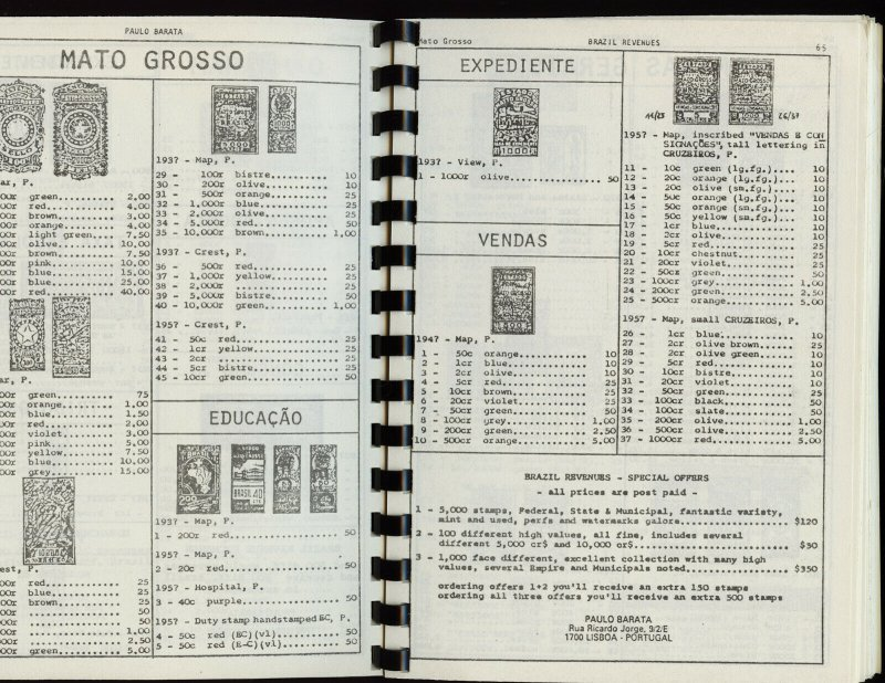 Catalog of Brazil Federal State and Municipal Revenue Stamps, Barata 1985, 135p.