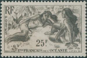 French Oceania 1948 SG205 25f brown Polynesian Girls MNG