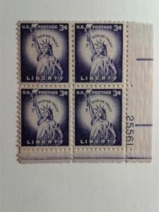 SCOTT # 1035 LIBERTY 3 CENT PLATE BLOCK AND SINGLE COMBO MINT NEVER HINGED