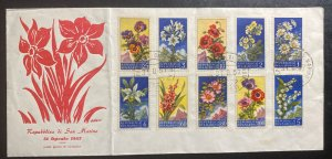 1957 San Marino First Day Cover FDC Flowers Issue