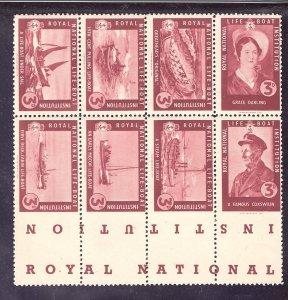 G.B. Royal National Life Boat Inst  Sheetlets of 8 Poster Stamps Imperf @ Bottom