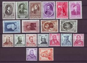 J21320 Jlstamps 1941-2 belgium sets mh #b239-302, b319-27, 1 mng famous people