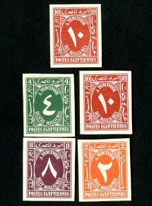 Egypt Stamps VF King Farouk proof set of 5 on card