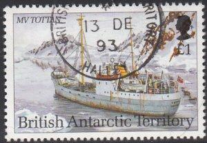 British Antarctic Territory 1993 used Sc #211 1pd MV Tottan Research Ships