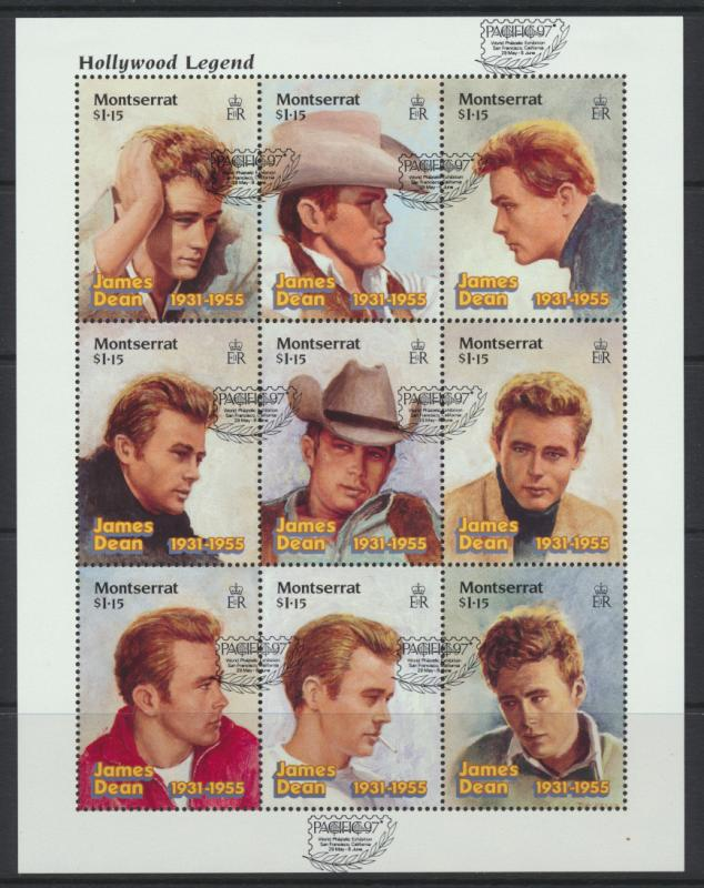 Montserrat sheet  opt Pacific97- SG  1037a  SC#912 Dean Hollywood Legends 1997