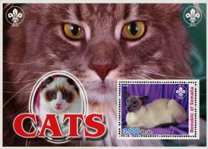 Somalia Cat Pet Domestic Animal Souvenir Sheet Mint NH