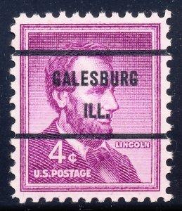 Galesburg IL, 1036-71 Bureau Precancel, 4¢ Lincoln