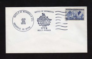NJ Battle of Monmouth Freehold New Jersey Molly Pitcher Stamp Cover