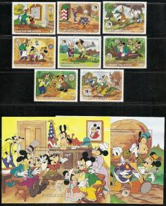 Caicos Islands 78-87 1985 Disney Mark Twain set and s.s. NH