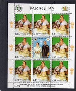 Paraguay 1981 Sc#C484 Queen Mother 80th.Birthday Mini-Sheetlet (8+1L) MNH