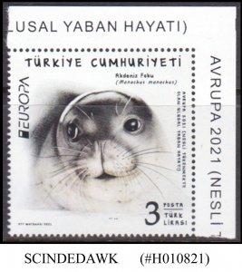 TURKEY - 2021 ENDANGERED SPECIES - MEDITERRANEAN MONK SEAL EUROPA - 1V - MNH