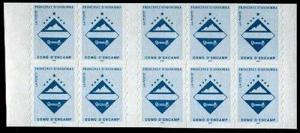 HERRICKSTAMP ANDORRA-FRENCH Sc.# 477A Self-Adhesive Pane of 10 Stamps NH