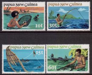 Papua Scott 545/548, 1981 Fishing Set MNH**