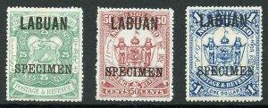 LABUAN SG80s/2s 1896 Set of Three opt SPECIMEN