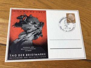 Frankfurt Oder  Postal Union monument Stamps Day 1938 Stamps Post Card Ref 56985