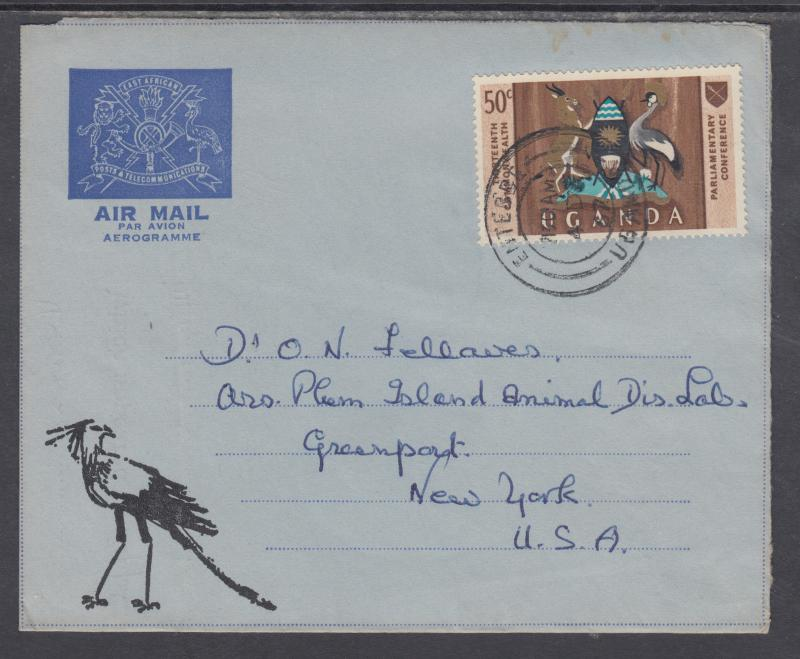 Uganda Sc 112 on 1967 East African Posts & Telecommunications Aerogramme to US