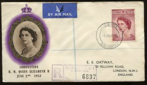 Southern Rhodesia QEIi 1953 Coronation cacheted cover to London England