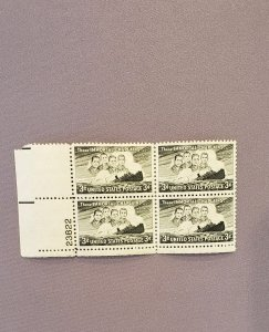 956, Immortal Chaplains, Plate Block LL, Mint OGNH, CV $2.50