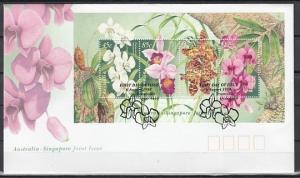 Australia, Scott cat. 1684 A. Orchids s/sheet on a First day cover.