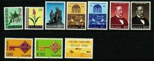 Iceland 1968 Cpl year set. Very good. MNH