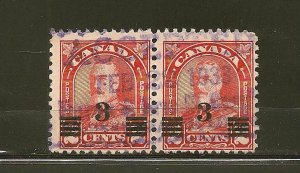 Canada 191 King George V Surcharged Postmarked 1933 Pair Used