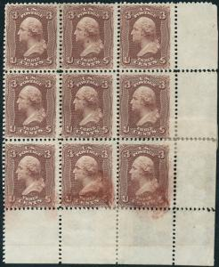 #66TC BLOCK OF 9 RARE MULTIPLE VERY SIMILAR TO SCOTT #66 WL1236