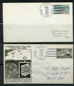 US USS ERNEST G SMALL (DDR838) LOT OF 2 DIFFERENT COVERS 1948-1963 AS SHOWN (12)