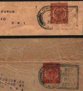 GB Covers Wrappers {2} *Buy British* SLOGANS Scarce Die 6 FS24 & FS25 1927 K99a