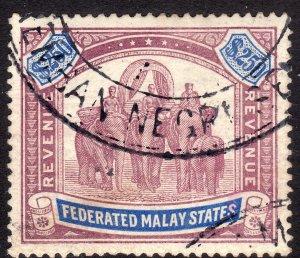 1904 Malaya $250 Elephant & Howdah Used rev Barefoot 8 CV: $250.00 Wmk 3: swy