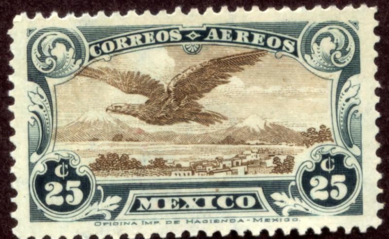 MEXICO C4, 25cents Early Air Mail MINT, NH.