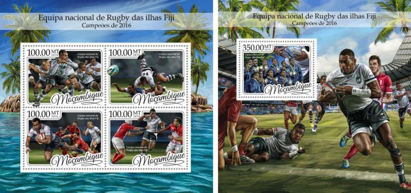 Mozambique Fiji National Team Rugby Champions MNH stamp set