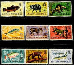 BRITISH HONDURAS Sc#214//224 1968 QEII Definitives Part Set OG Mint NH & H