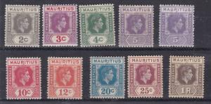 MAURITIUS  1938 - 49  S G 252 - 260  VARIOUS VALUES  TO 1R  CAT £85     M /  H