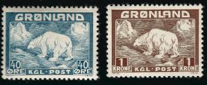 Greenland 1946 Sc#8 & #9 Mint NH VF Cat $48...Quality Bargain!