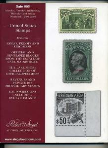 Siegel Auction Sale of US Stamps, Proofs &Essays