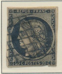 France Stamp Scott #3, Used - Free U.S. Shipping, Free Worldwide Shipping Ove...