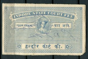 INDIAN STATES; INDORE early 1900s local Revenue issue fine used value