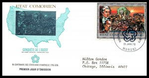 Comoro Islands 167 US Bicentennial Typed FDC