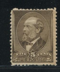 1882 US Stamp #205 5c Mint Hinged F/VF Original Gum Catalogue Value $240