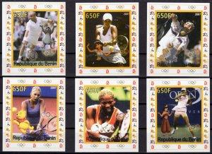 Benin 2007 TENNIS-DISNEY CHARACTERS-BEIJING OLYMPIC GAMES 4 Souvenir Sheets IMP.