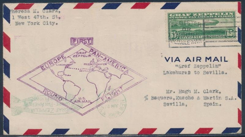 1930 PAN-AM FLIGHT COVER VIA ZEPPELIN N.Y. TO SPAIN  W/ C13 RARE ON COVER HW3334