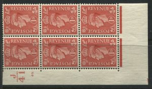 GB KGVI 1941 1d in a mint hinged corner block of 6 with Control number J41 (40)