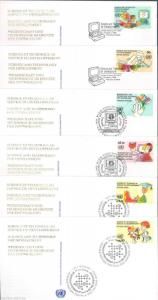 UNITED NATIONS SET OF SIX SCIENCE & TECHNOLOGY 1992 FDCs ON OFFICIAL CACHETS