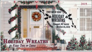 19-279, 2019, Holiday Wreaths, Pictorial Postmark, FDC, Christmas