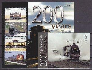 Palau, Scott cat. 830-831. 200 Years of Trains sheet & s/sht.. ^