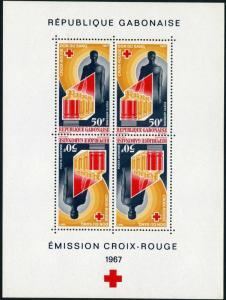 Gabon C54a sheet,MNH.Michel 279 Bl.6. Red Cross 1967.Blood donor.