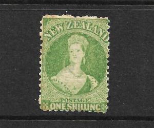 NEW ZEALAND 1864-71  1/- GREEN   FFQ  MNH  P12 1/2  CP A6M1  SG 124 CHALON